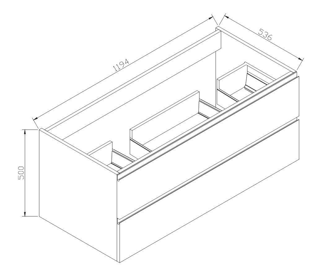 Badmöbel-Set LUXX 1200 - Zeichnung 1