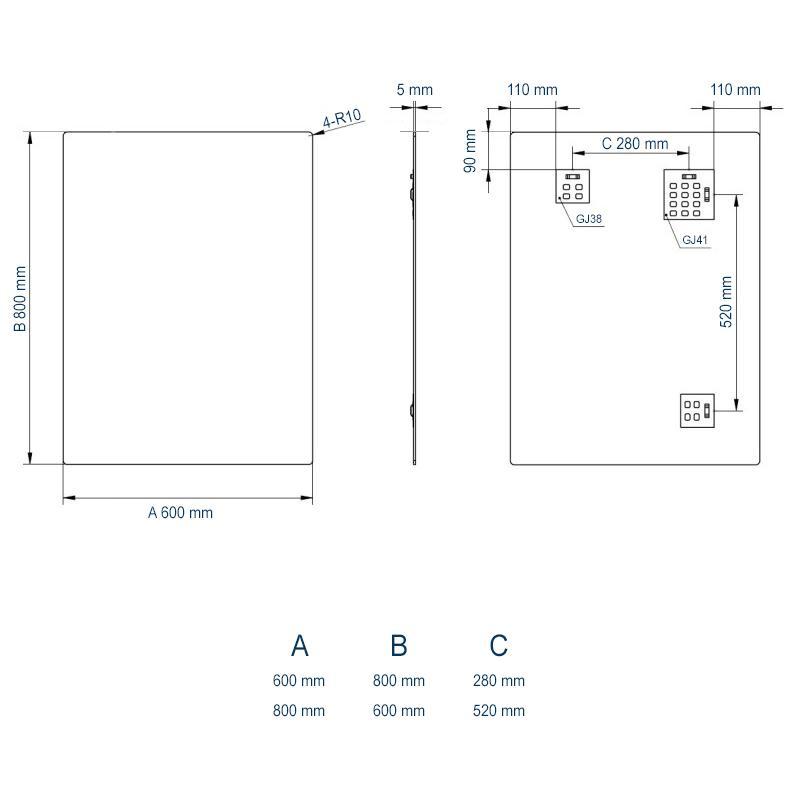 Badspiegel 2137 horizontal & vertikal - Zeichnung 1