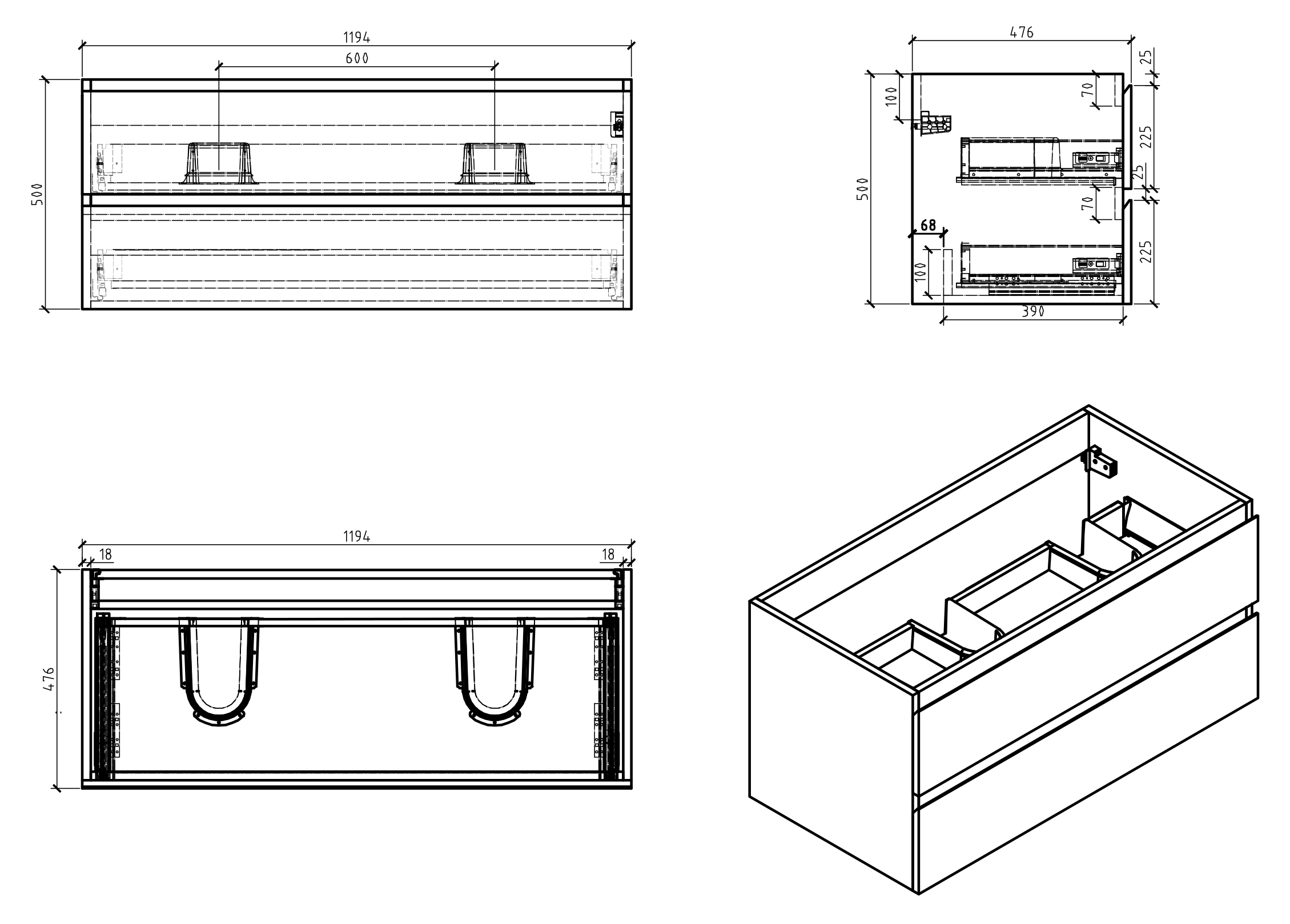 Alice 1200 Underbasin cabinet - Drawing