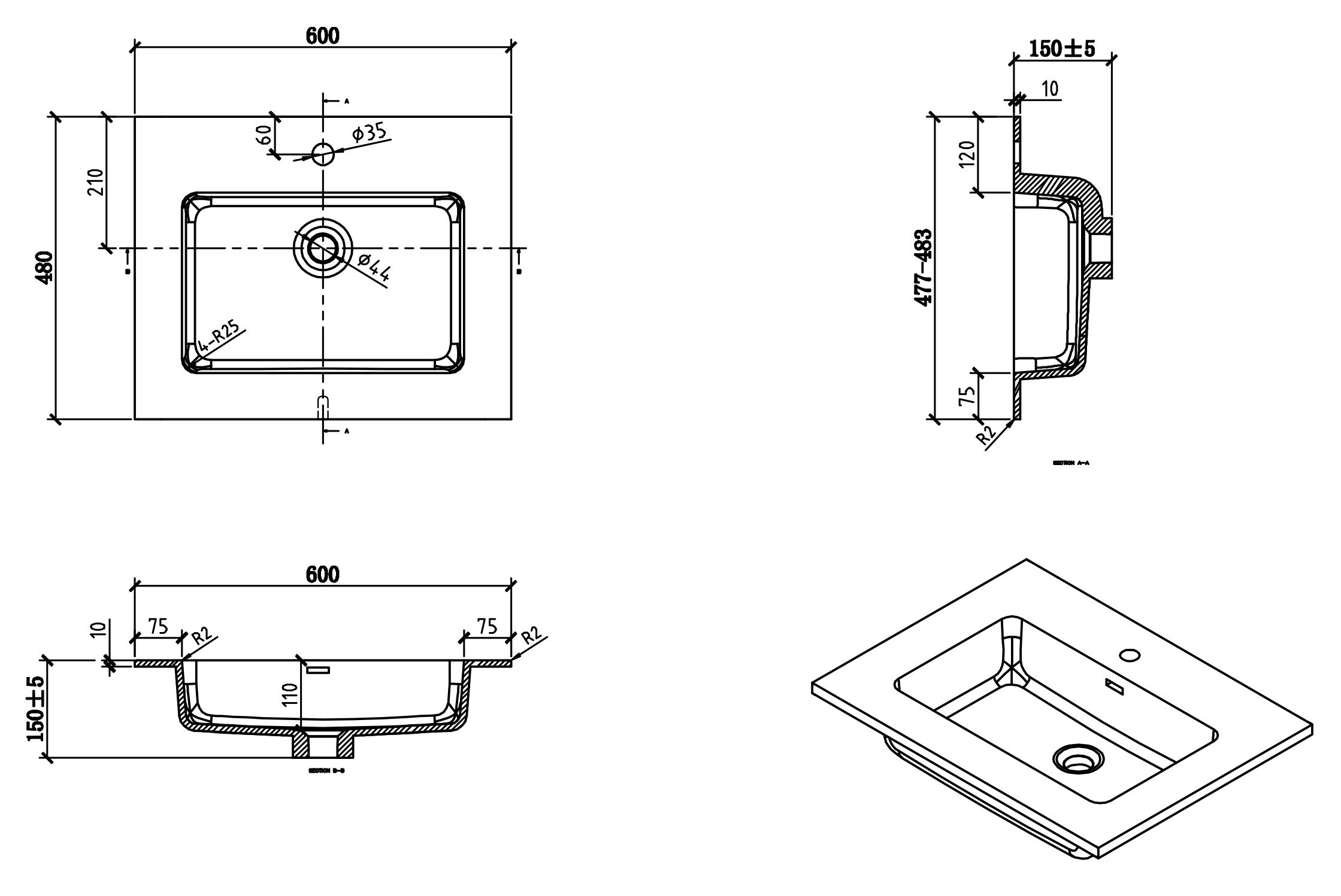 Alice 600 wash basin - Drawing