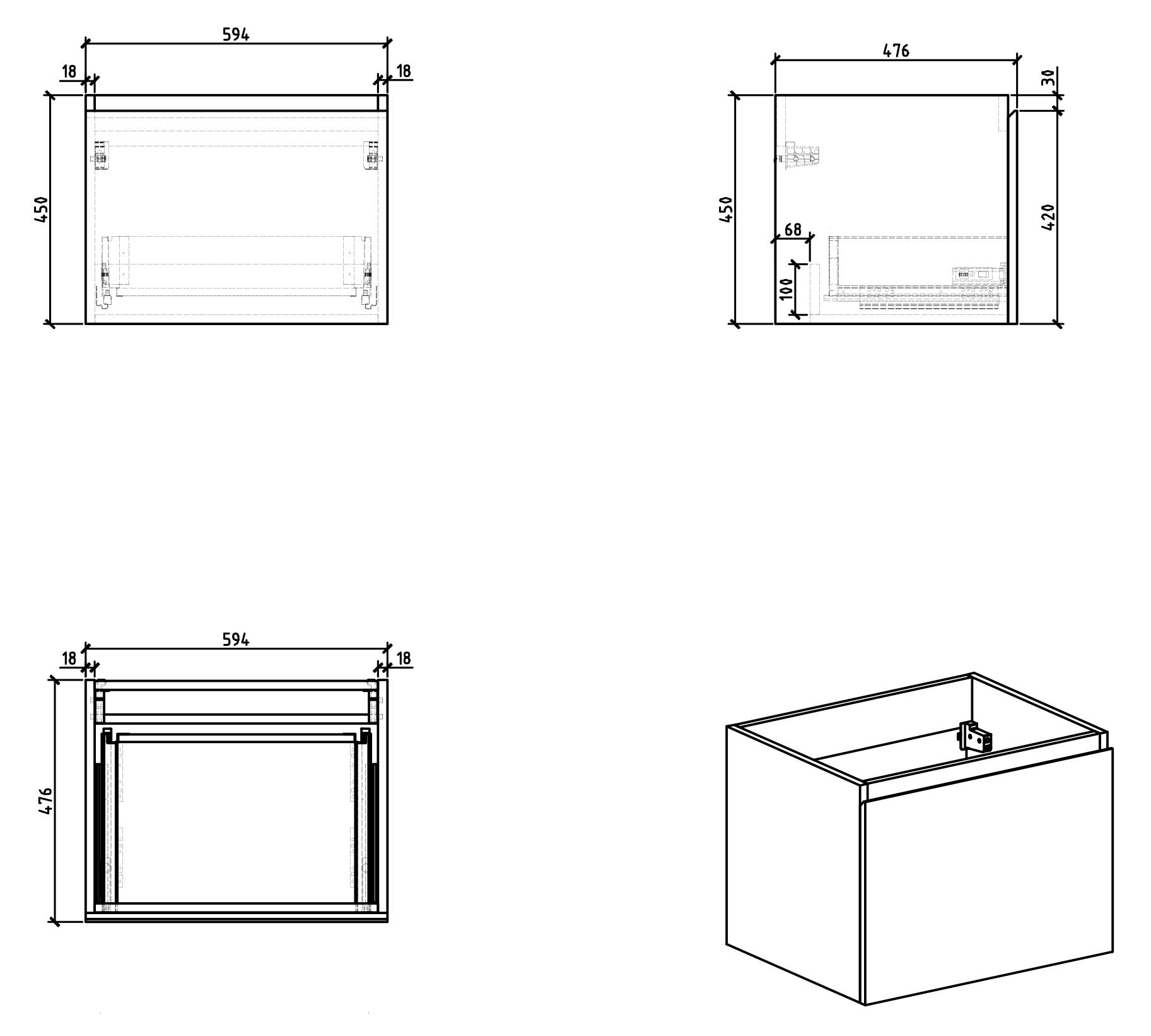 Bathroom furniture set Alice 600 - Drawing