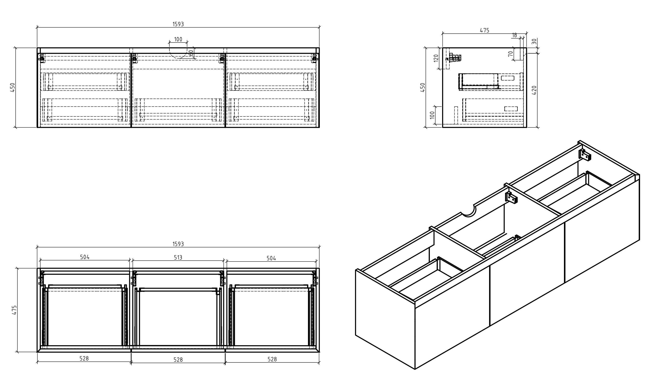 Bathroom furniture set Luna 1600 - Drawing 1
