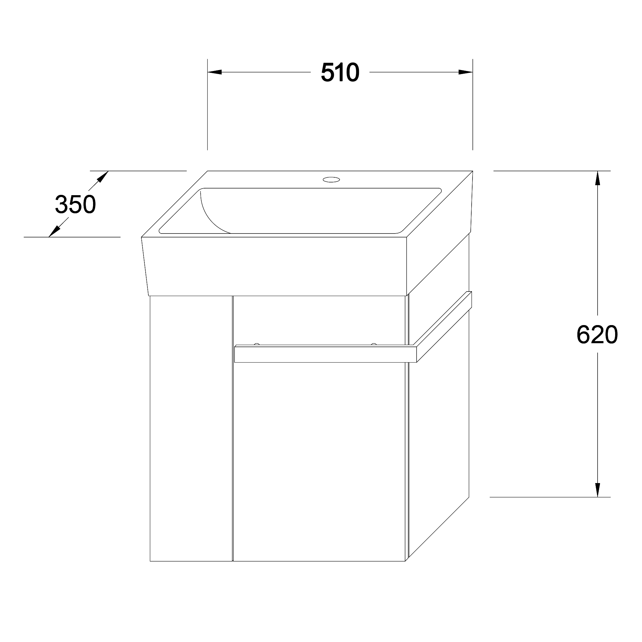 Bathroom furniture set Compact 500 - Drawing