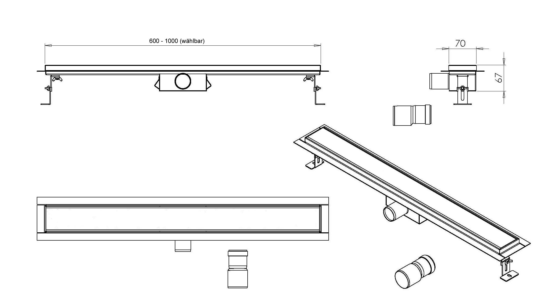 Duschrinne GT02 - Zeichnung
