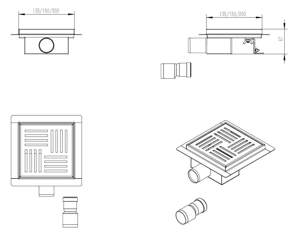 Floor drain shower S05 - Drawing