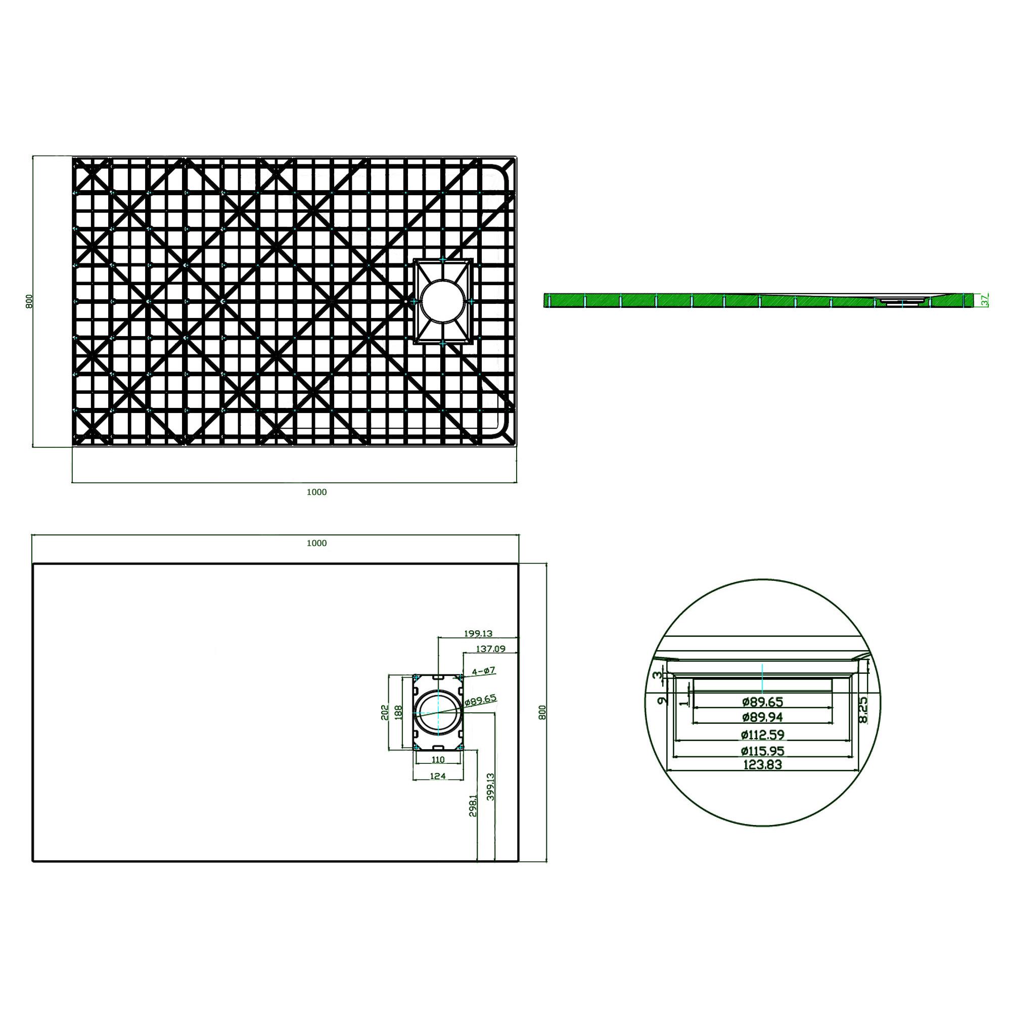 SMC Duschtasse 80x100cm - Zeichnung