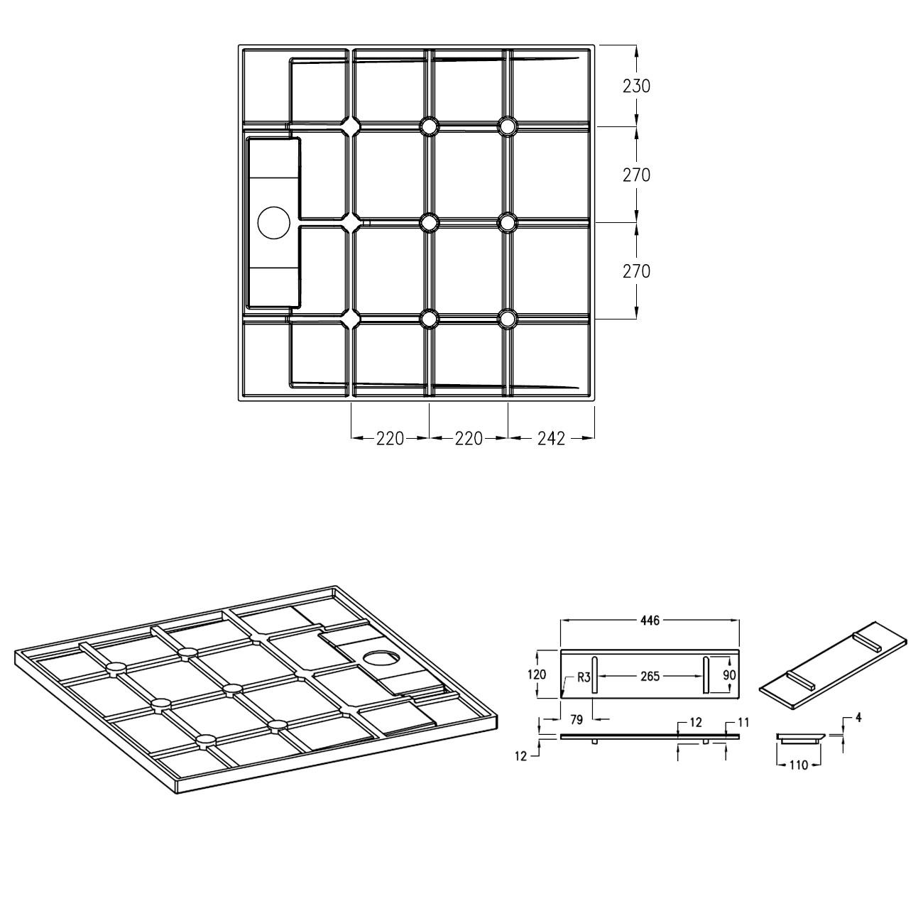 Mineralguss Duschtasse - Zeichnung 2