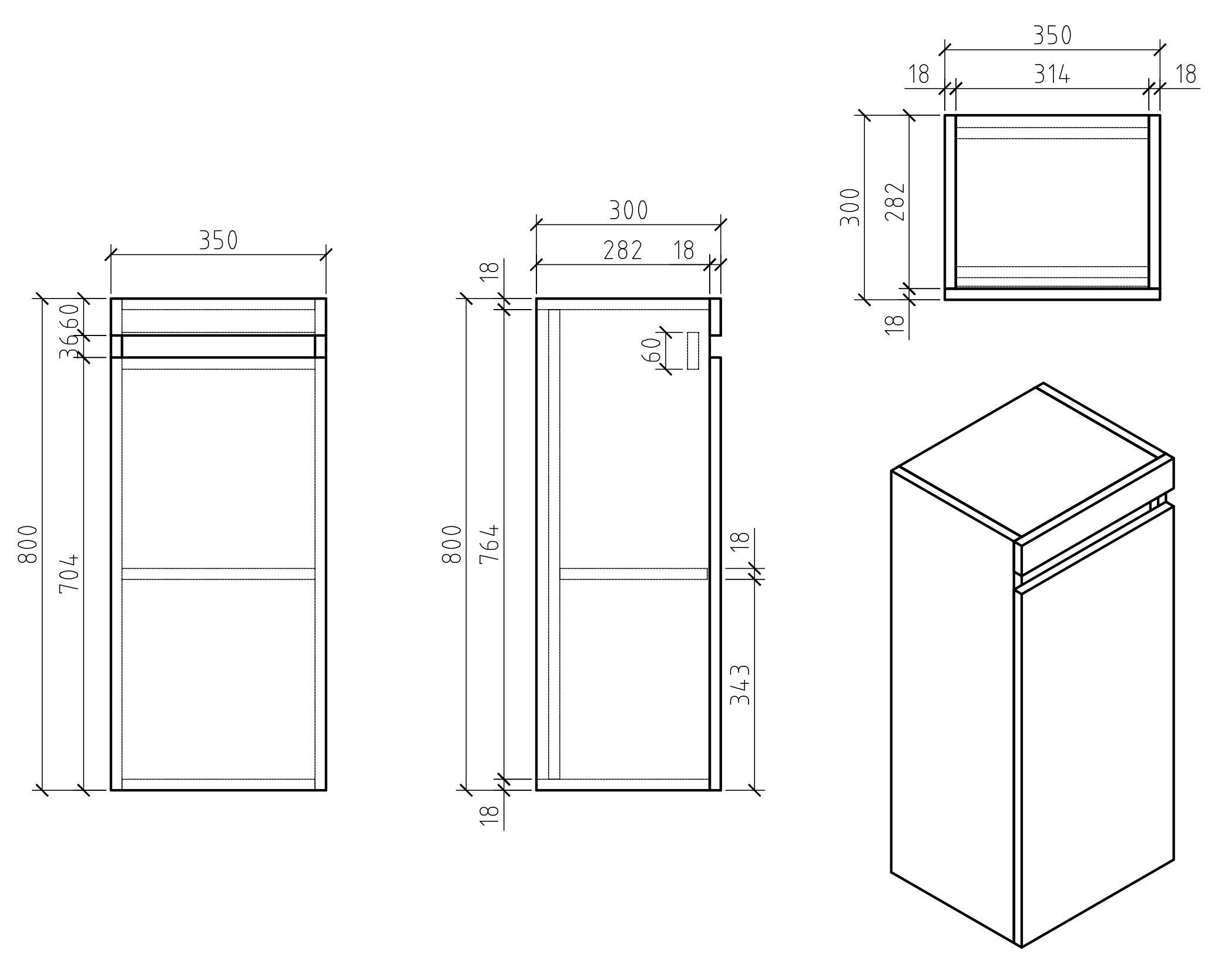 Badmöbel Easy Seitenschrank - Zeichnung