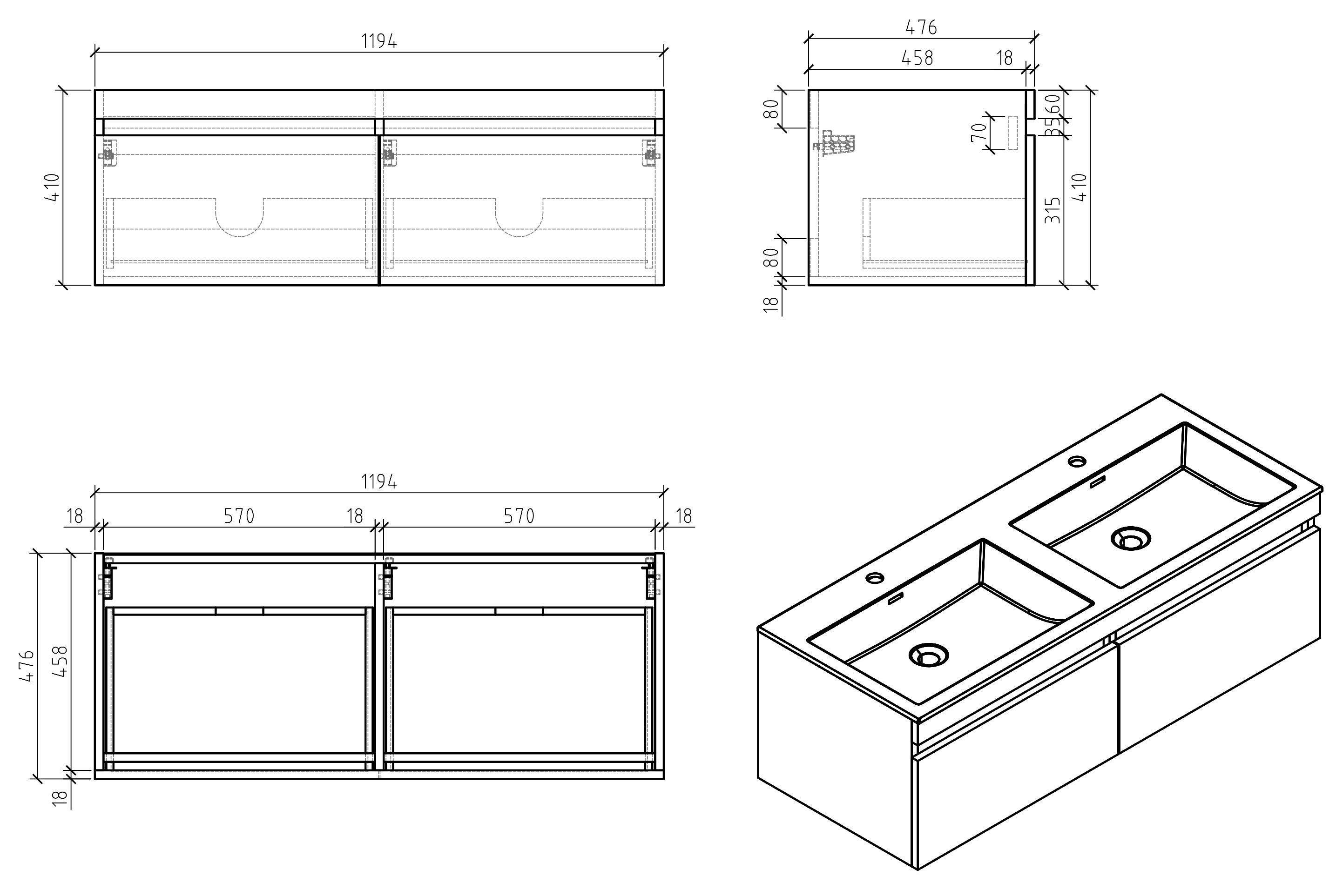 Badmöbel Easy 1200 - Zeichnung