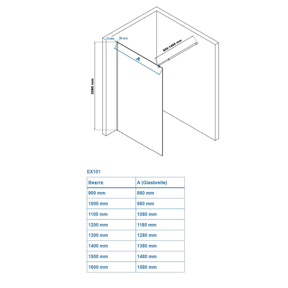 Shower enclosure EX101 - Drawing