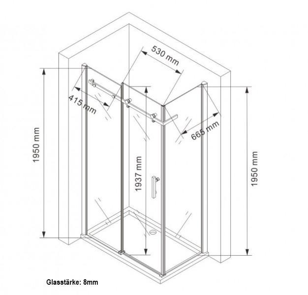 Duschkabine EX802 - 8mm - Zeichnung