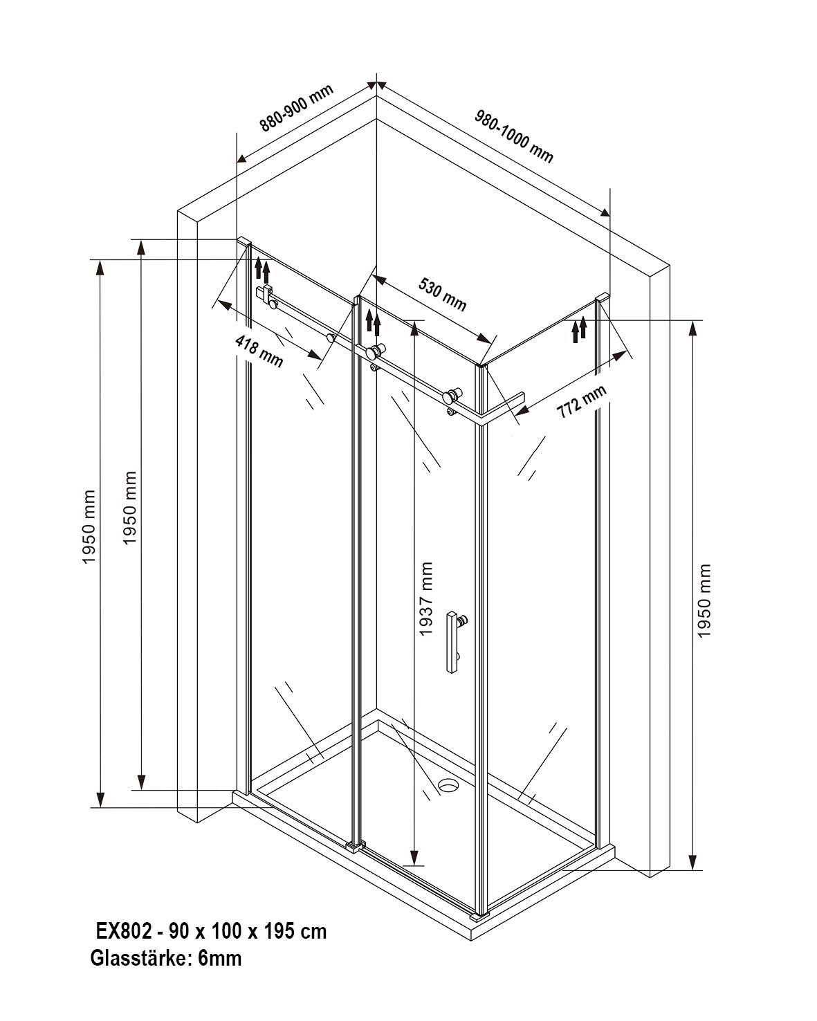 Duschkabine EX802 - 6mm - Zeichnung