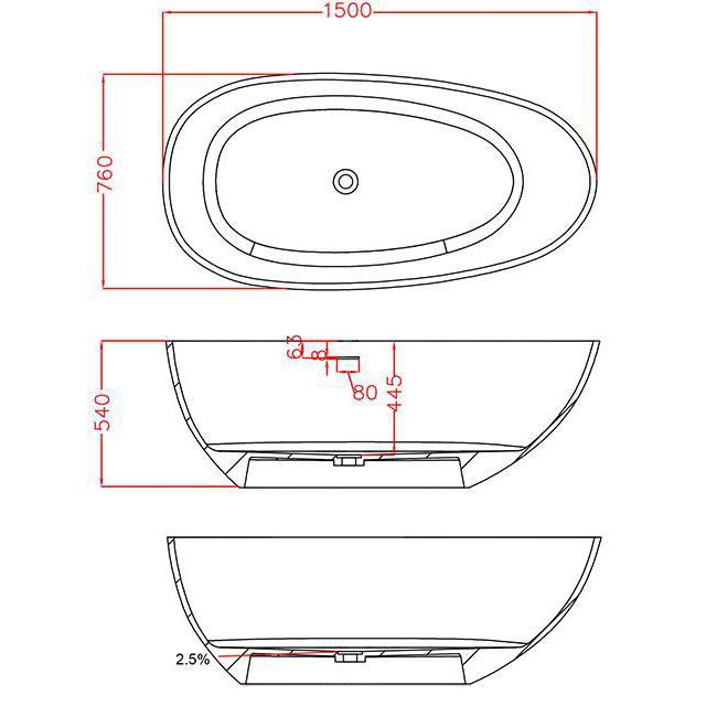 Vasca Da Bagno Freestanding Vela Dimensioni E Colore A Scelta