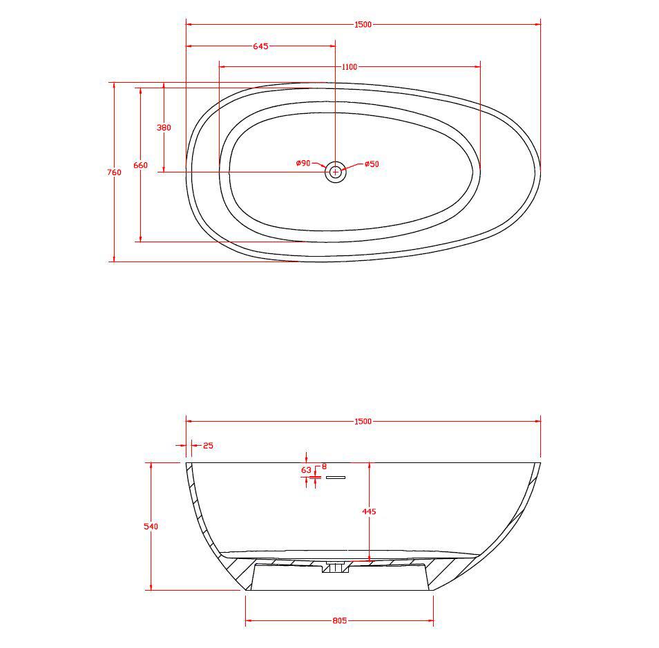 Freistehende Badewanne Vela 150cm - Zeichnung