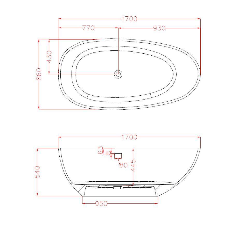 Freistehende Badewanne Vela 170cm - Zeichnung
