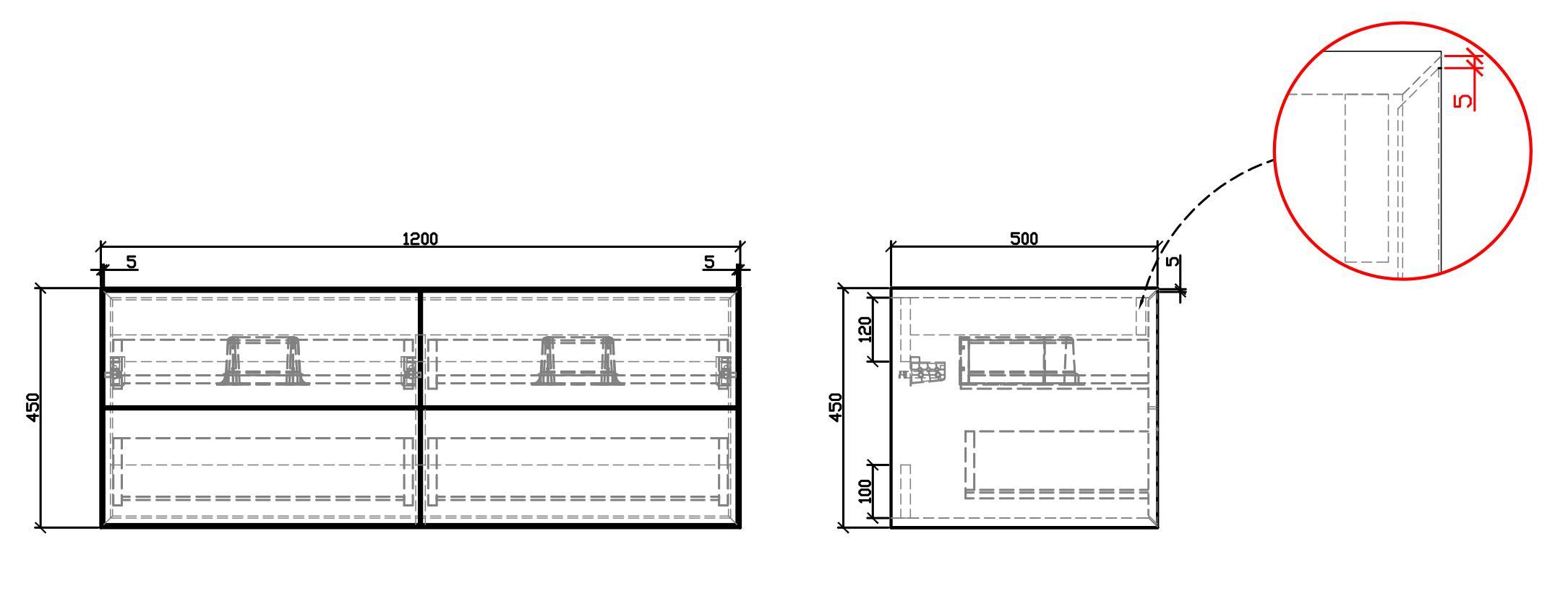 Bathroom furniture set Milou 1200 - Drawing 1
