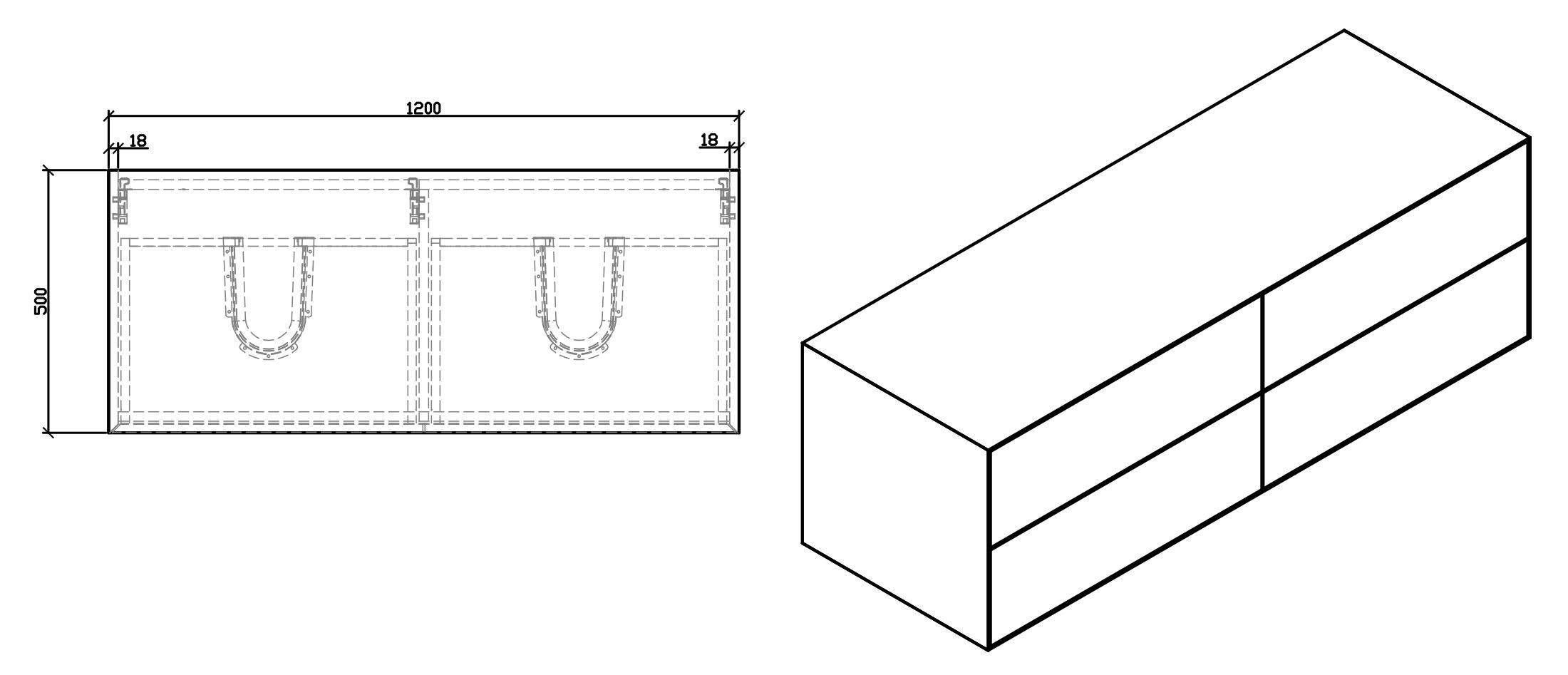Badmöbel Milou 1200 - Zeichnung 2