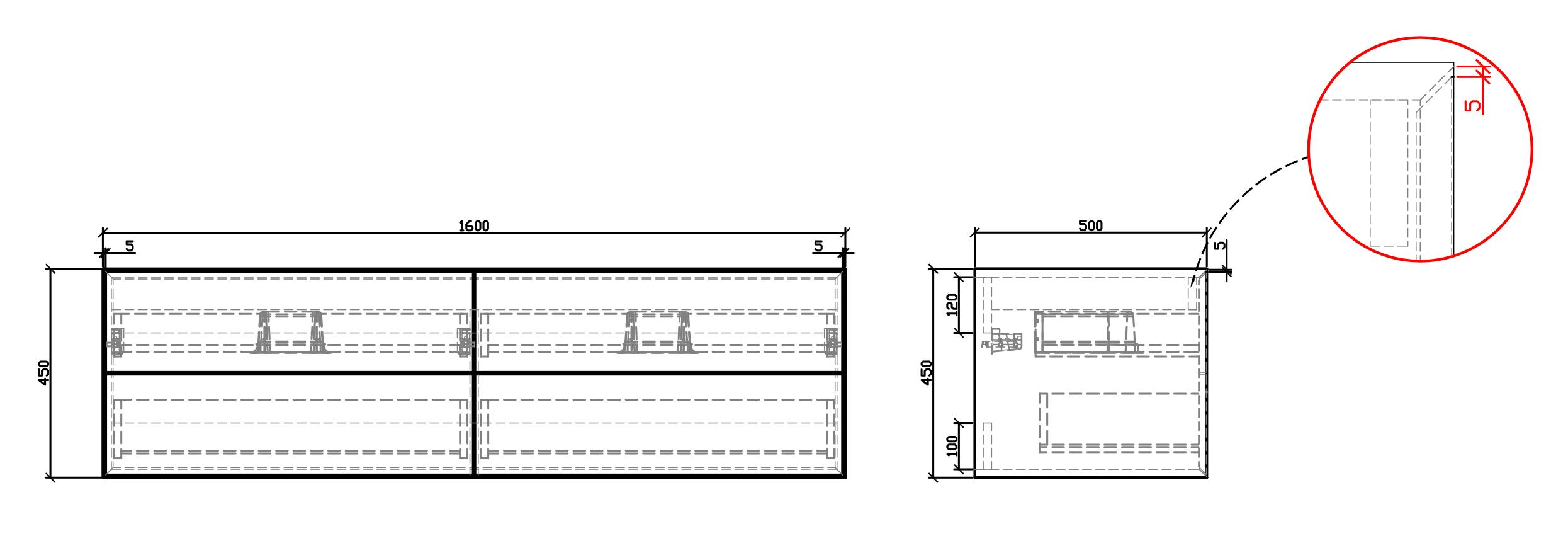 Bathroom furniture set Milou 1600 - Drawing 1
