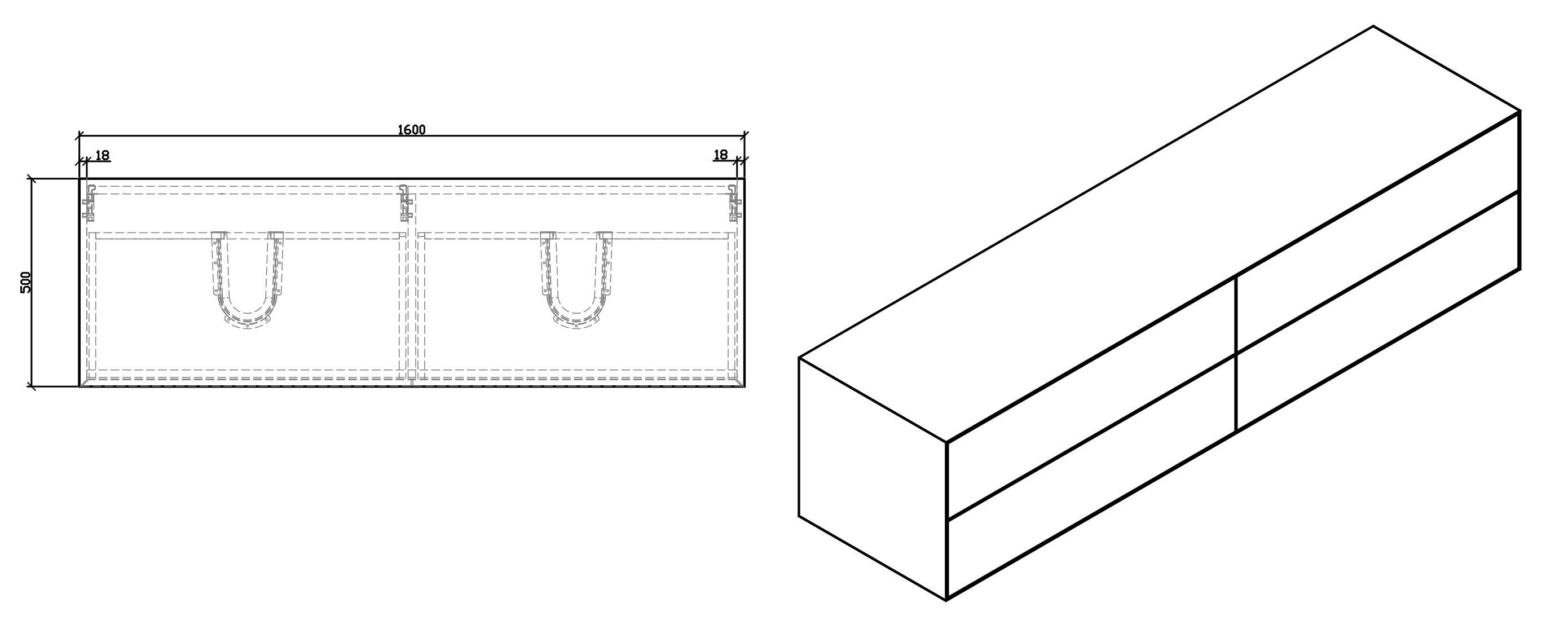 Bathroom furniture set Milou 1600 - Drawing 2