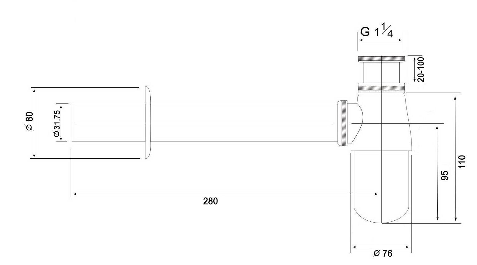 Siphon 1014 Kunststoff - Zeichnung