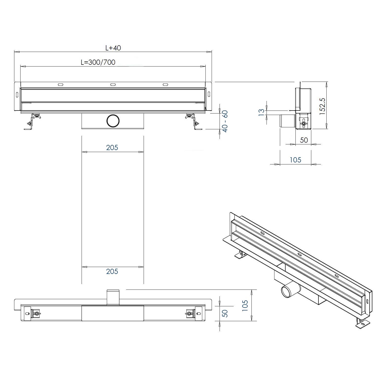 Wall drain WD-GT01 - Drawing