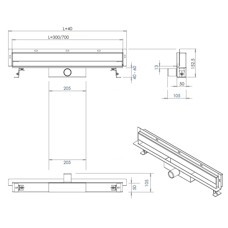 Duschrinne WD-GT02 - Zeichnung