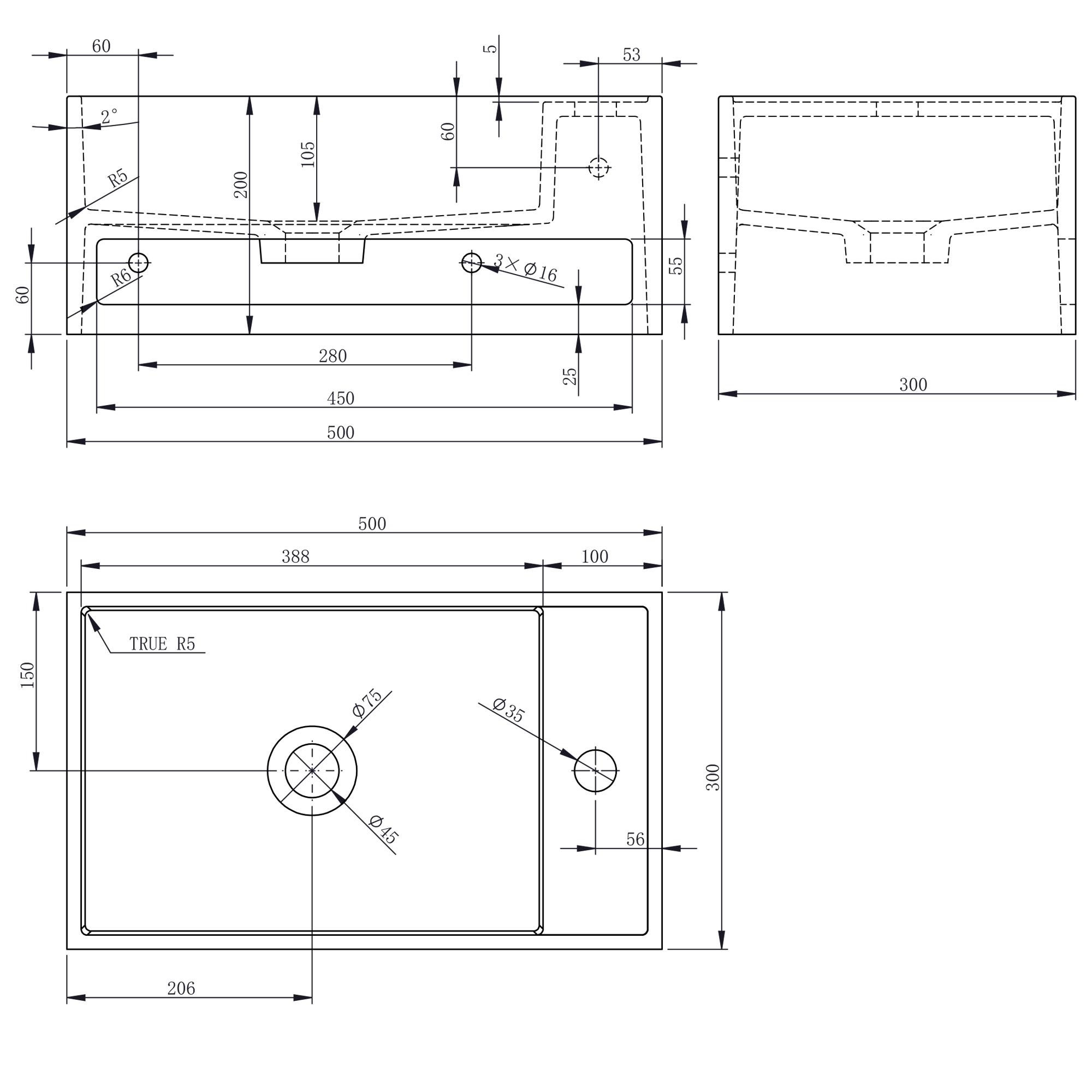 Wandwaschbecken PB2077 - Zeichnung 1