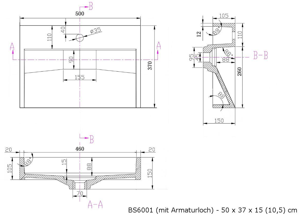 BS6001 - Breite 50cm - mit Armaturloch