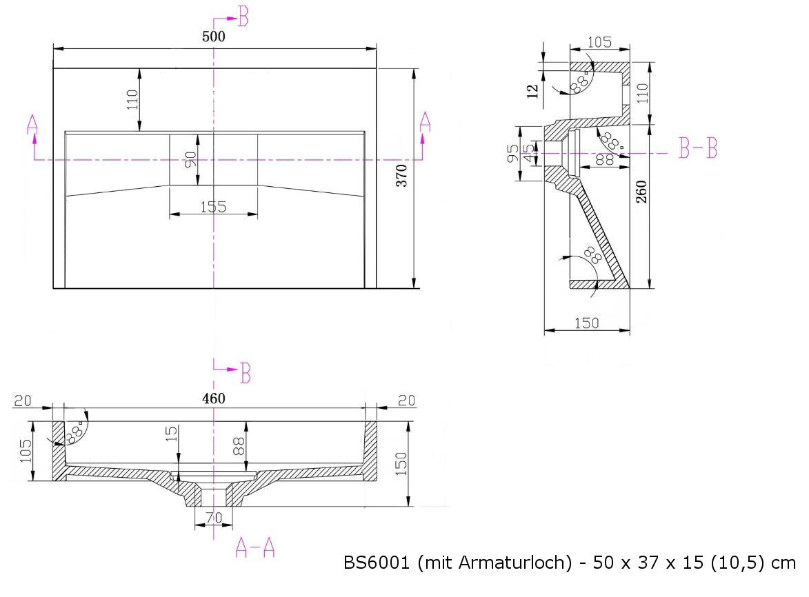 BS6001 - Breite 50cm - ohne Armaturloch