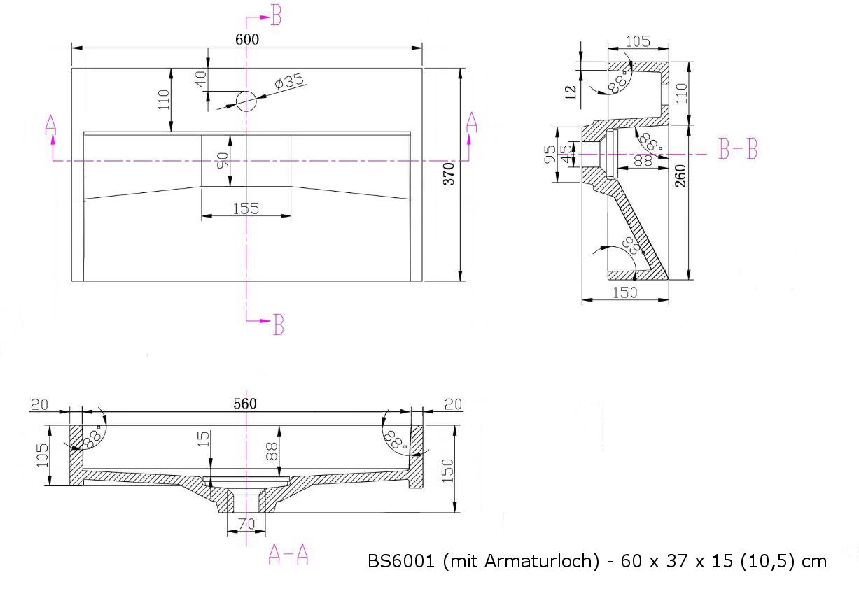 BS6001 - Breite 60cm - mit Armaturloch