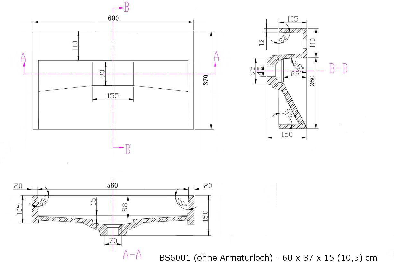BS6001 - Breite 60cm - ohne Armaturloch