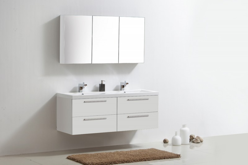 ensemble de salle de bain r1440 armoire de toilette lavabo et meuble sous vasque blanc le. Black Bedroom Furniture Sets. Home Design Ideas
