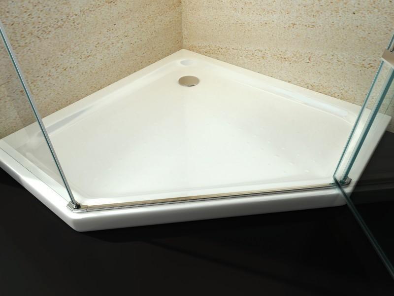 duschtasse duschwanne f nfeck acryl 90 x 90 cm inkl ablaufgarnitur badewelt duschkabine. Black Bedroom Furniture Sets. Home Design Ideas