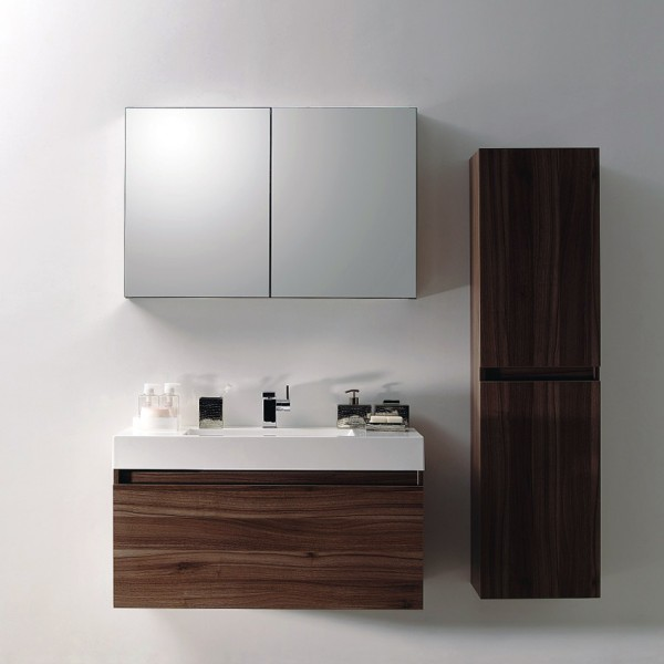 ensemble de salle de bain a1000 basic armoire de toilette lavabo et meuble sous vasque noyer. Black Bedroom Furniture Sets. Home Design Ideas