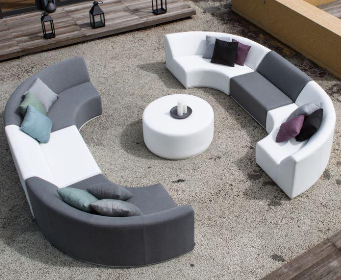 Gartenmöbel-Set BAY ROUND - Sunbrella Textil - Gartenlounge (7 ...